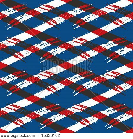 Vector Abstract Wicker Weave Effects Seamless Interlace Pattern Background. Painterly Diagonal Brush