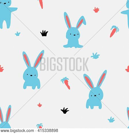 Vector Pattern With Hares And Carrots. Hares Walk In The Field.