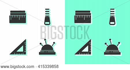 Set Needle Bed And Needles, Tape Measure, Triangular Ruler And Zipper Icon. Vector
