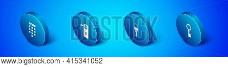 Set Isometric Password Protection, Unlocked Key, Old And Door Handle Icon. Vector