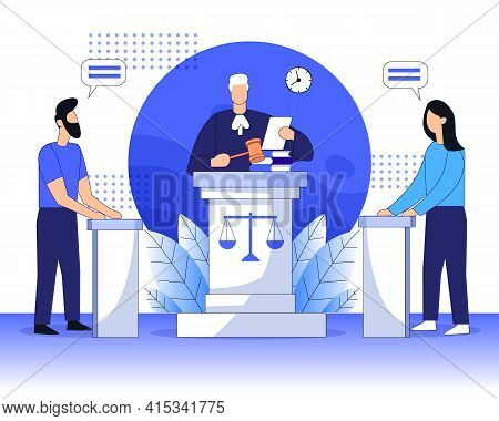Legal Court With Judge And Justice Court Trial Flat Vector Illustration Concept