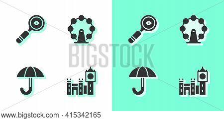Set Big Ben Tower, Magnifying Glass, Umbrella And London Eye Icon. Vector