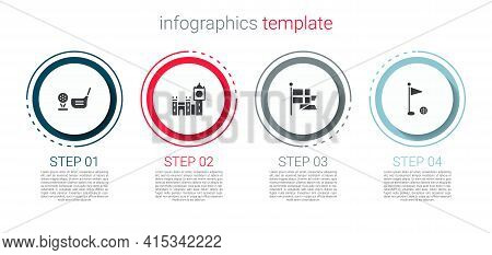 Set Golf Club With Ball On Tee, Big Ben Tower, England Flag Flagpole And . Business Infographic Temp