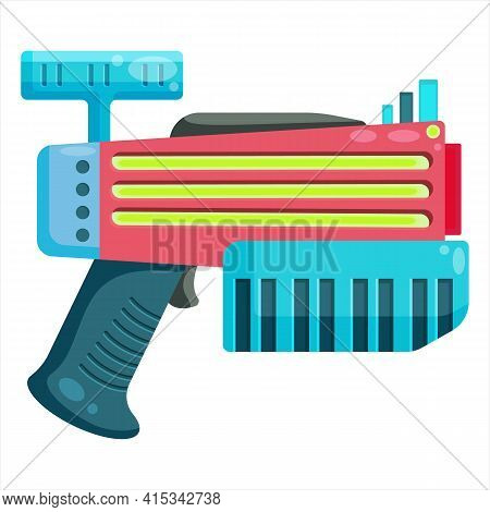 Vector Clip Art Blaster. A Vivid Illustration Of An Unusual Alien Weapon. Energy Weapons For Compute