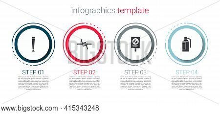 Set Police Rubber Baton, Barbed Wire, Protest And Hand Grenade. Business Infographic Template. Vecto