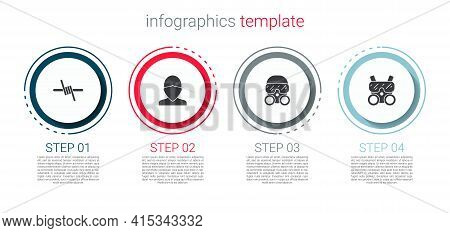 Set Barbed Wire, Vandal, Gas Mask And . Business Infographic Template. Vector