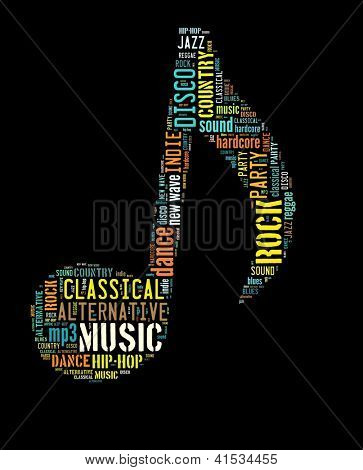 Muziek concept in woord collage