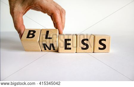 Bless Mess Symbol. Businessman Turns The Cube And Changes The Word 'mess' To 'bless'. Beautiful Whit