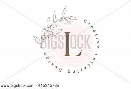 Letter L Logo With Watercolor Brush And Circle Lettering Design And Outline Leaves In Pastel Colors.