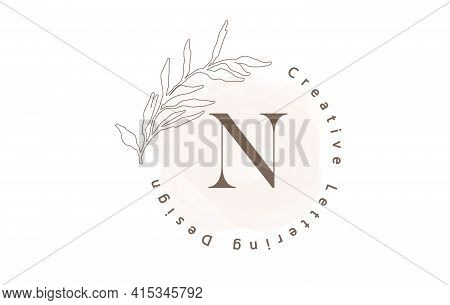 Letter N Logo With Watercolor Brush And Circle Lettering Design And Outline Leaves In Pastel Colors.