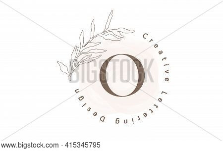 Letter O Logo With Watercolor Brush And Circle Lettering Design And Outline Leaves In Pastel Colors.
