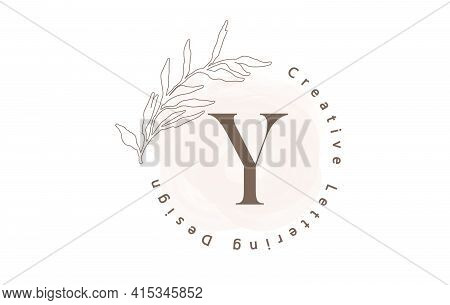 Letter Y Logo With Watercolor Brush And Circle Lettering Design And Outline Leaves In Pastel Colors.