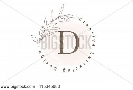 Letter D Logo With Watercolor Brush And Circle Lettering Design And Outline Leaves In Pastel Colors.