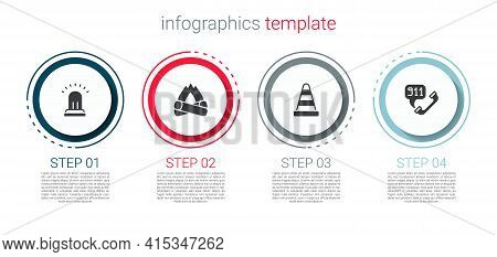 Set Ringing Alarm Bell, Campfire, Traffic Cone And Telephone Call 911. Business Infographic Template