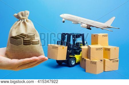 Money Bag, Forklift Truck With Cardboard Boxes And Freight Plane. Transportation Logistics Infrastru