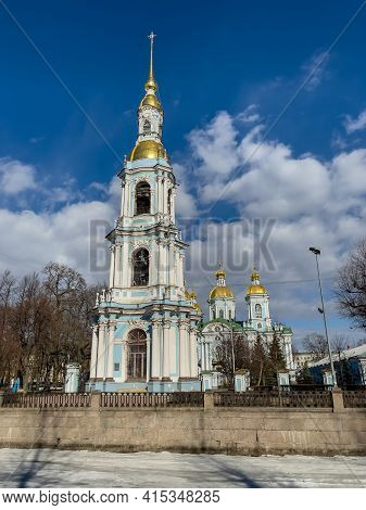 Close Up View Of St. Nicholas Naval Cathedral Belltower In A Clear Sunny Day Of Spring
