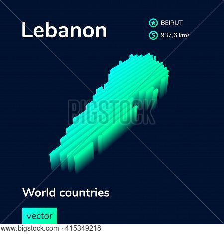 Stylized Neon Simple Digital Isometric Striped Vector 3d Lebanon Map.  Map Of Lebanon Is In Green, T