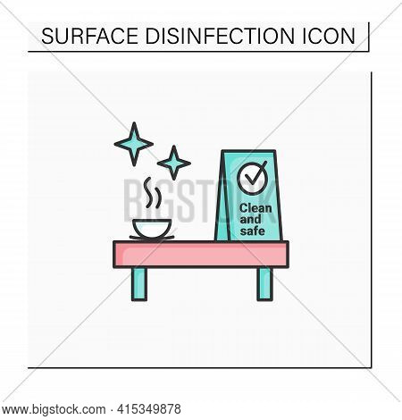 Clean And Safe Color Icon.dicinfected Place Signification. Public Spaces And Surfaces Disinfection.