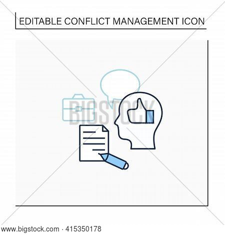 Feedback Line Icon. Giving Constructive Feedback. Reasonable Thoughts About Work. Smart Ideas. Confl