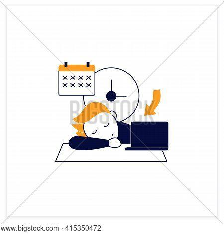 Crisis Marker Procrastinator Flat Icon.laziness. Defer Task. Sleep At Workplace. Working On Stressfu