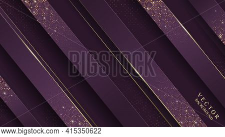 Business Background. Abstract Purple And Gold Geometric Shapes Background. Abstract Gold Lines Backg
