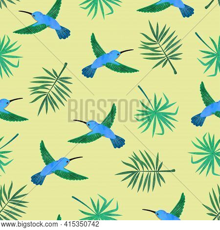 Hummingbirds And Exotic Palm Leaves. Seamless Tropical Pattern.