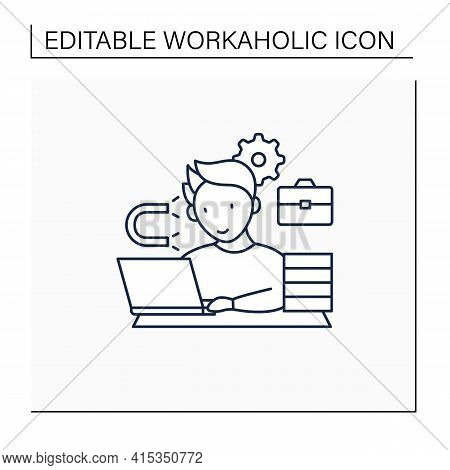 Workaholic Line Icon. Inability Detach From Work. Hard Working. Work Love Concept.isolated Vector Il
