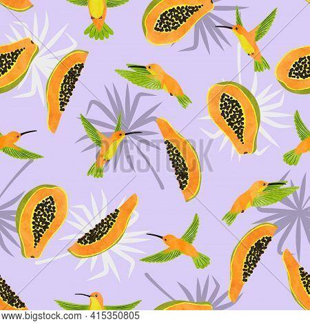 Seamless Hummingbirds And Papaya Fruits Pattern. Vector Summer Tropic Background.