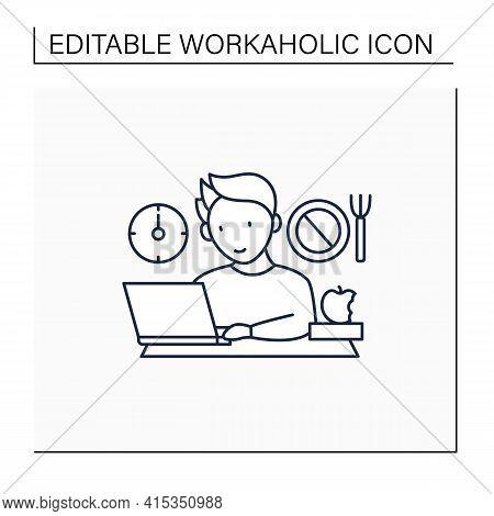 Workaholic Line Icon.skip Lunch Breaks Through Work. Man At Laptop. Hard Working.overworking Concept