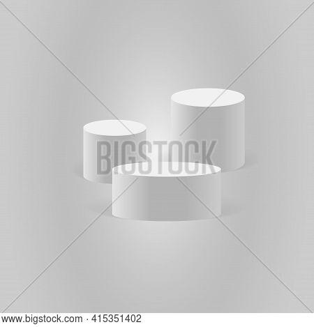 White Cylinder Template. 3d Base Stand Podium Or Studio Pedestal Round Platform Showroom Illustratio