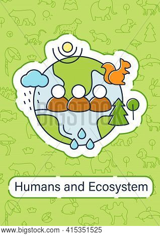 Humans And Ecosystem Brochure.people Impact Ecosystem.protection Flora, Fauna.saving Planet Template