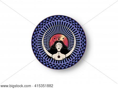 Woman Wiccan Mother Earth Symbol Of Sexual Procreation. Crescent, Half And Full Moon, Wicca, Witchcr