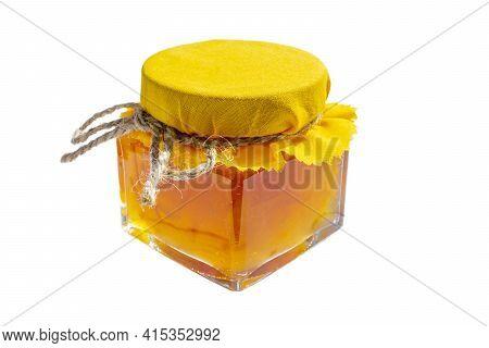 Orange Jam Jar Glass Isolated On White Background. Hight Quality Photo