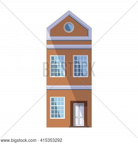 European Orange Old House In The Traditional Dutch Town Style With A Gable Roof, Round Attic Window