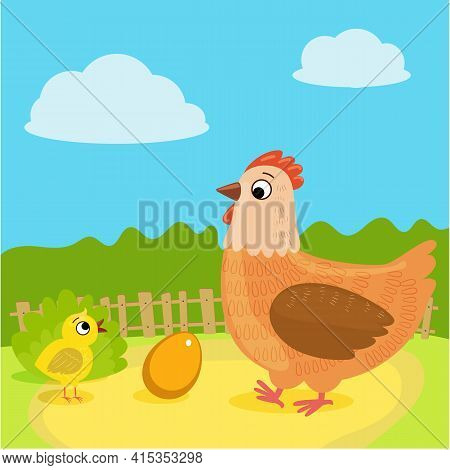 Farm. Hen, Chicken, Egg. Mother And Baby. Vector Illustration In Cartoon Style