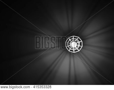 Geometric Chandelier With Light Bulb Produces An Interesting Shade With Copy Space. Black And White