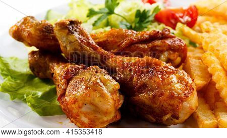 Tasty And Delicious Leg Pieces Of Chicken Fresh And Healthy Food Roasted Grilled Chicken Leg Pieces