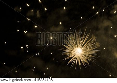 Beautiful Yellow Big Bang Science Object With Glowing Core. Scientific Artificial Scene In Microcosm