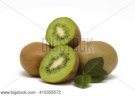 Appetizing Kiwi Fruit Halves In A Cut Isolated On White Background Close-up