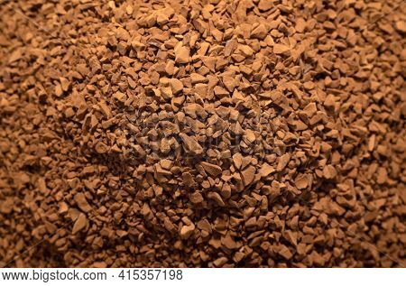 Coffee. A Pile Of Instant Coffee In Close-up. Coffee Granules
