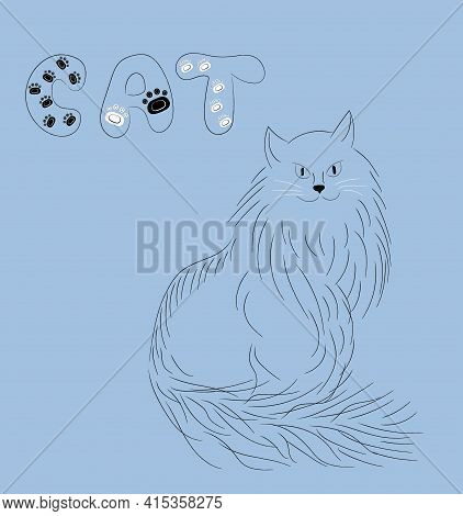 Black Fluffy Cat. Favorite Pet With A Sly Look Is Siitting. Hand Drawn Sketchy Vector Illustration.