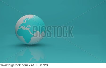 Stylized Image Of The Planet Earth With Reflection In The Floor In Turquoise And White Colors On A B