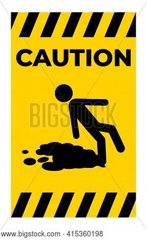 Caution Beware Slippery Surface Symbol Isolate On White Background