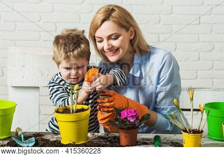 Planting Together. Mother And Son Planting Flowers. Family Relationships. Care For Plants. Gardening