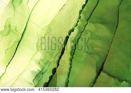 Art Abstract Green painting blots landscape horizontal background. Alcohol ink colors. Marble texture.