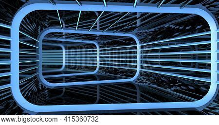 Background Of Reflective Rectangular Tunnel With Structure And Blue Lights Inside A Spaceship. 3d Il