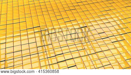 A Bit Messy Reflective Yellow Checkered Textured Floor With Red And Blue Edges. 3d Illustration