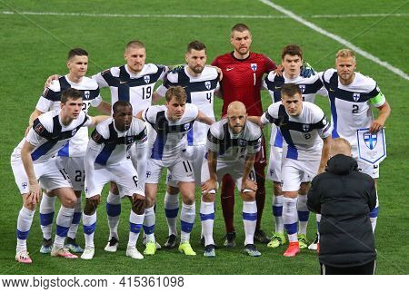 Kyiv, Ukraine - March 28, 2021: Players Of Finland National Team Pose For A Group Photo Before The F