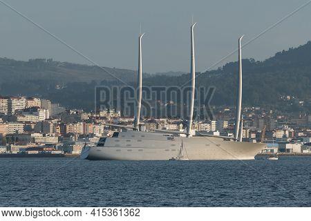 Vigo, Spain 27 March 2021. Sailing Yacht 'a' In Vigo Estuary In Spring