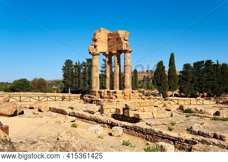 The Temple Of Castor And Pollux, Dioscuri Brothers. It Has Only Four Columns Left And Has Become The